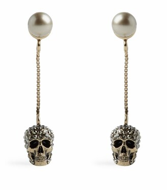 Alexander McQueen Crystal-Embellished Skull Earrings