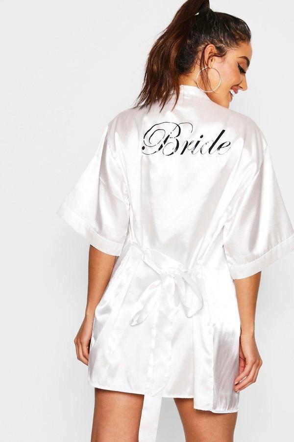 boohoo Satin Bride Robe