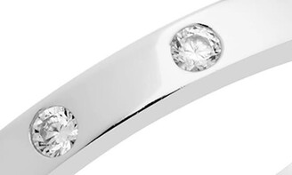 Sterling Forever Sterling Silver Thin Classic CZ Station Band Ring