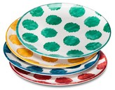 Mudhut Damask & Dots Melamine Dinner Plates - Set of 4