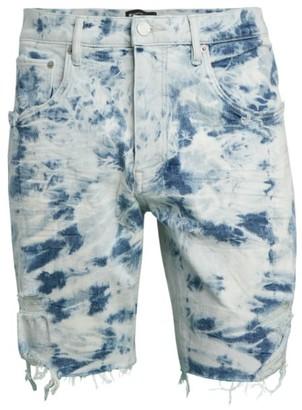 Purple Brand Bleach Marble Denim Cut-Off Shorts