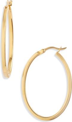 Argentovivo Edge Oval Hoop Earrings