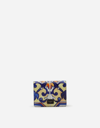 Dolce & Gabbana Small Wallet With Cross-Body Strap In Dauphine Calfskin With Leopard Print