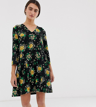 Monki prairie flower print jersey smock dress in black