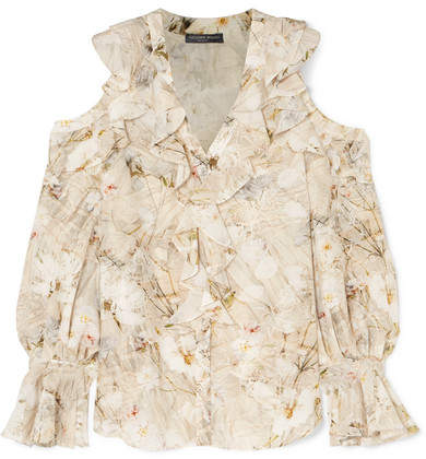 Alexander McQueen Cold-shoulder Ruffled Floral-print Silk Blouse - Ivory