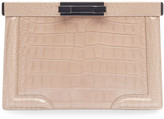 Alaia Cecile Crocodile-Embossed Leather Clutch Bag