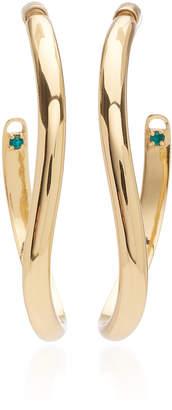 Calypso DEMARSON Mini Emerald Crystal Curved Hoop Earrings