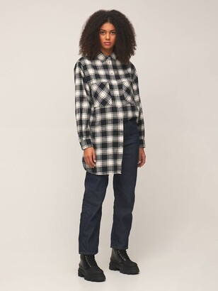 Checked Cotton Flannel Shirt Mini Dress