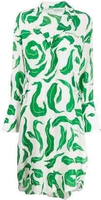 Off-White leaf print long-sleeve dress