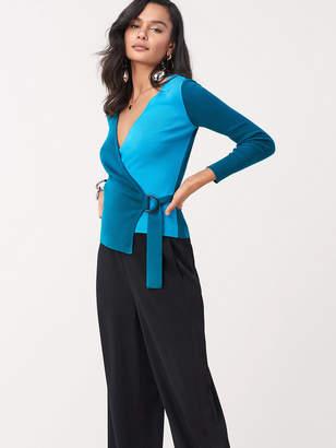 Diane von Furstenberg Gardenia Stretch Wool D-Ring Wrap Top