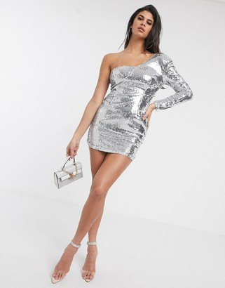 Pretty Darling sequin one shoulder dress in silver