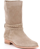 Frye Cara Pickstitch Suede Pull-On Mid Boots