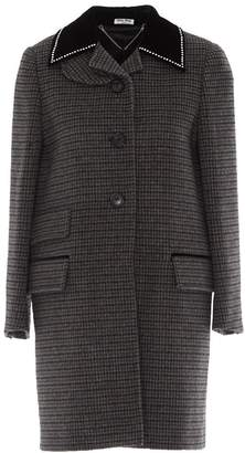 Miu Miu Checked Collar Embellished Coat