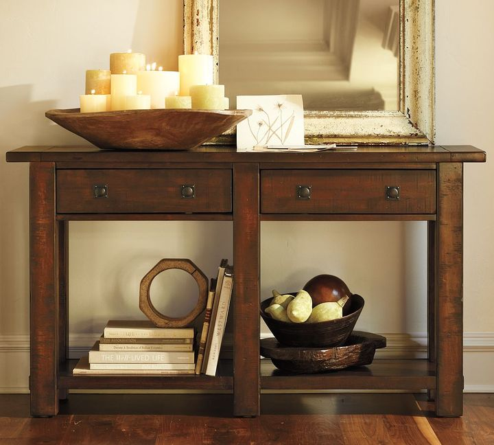 Pottery Barn Benchwright Console Table - Rustic Mahogany stain