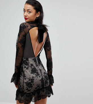 Asos Tall TALL High Neck Open Back Lace Mini Dress-Black
