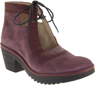 Fly London Suede Lace Mary Jane Ankle Boots - Wuza