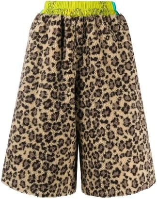 Natasha Zinko Leopard Print Fleece Shorts
