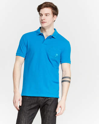 Versace Turquoise Two-Pocket Pique Polo