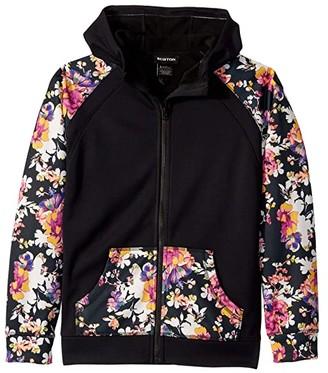 Burton Crown Bonded Full Zip Hoodie (Little Kids/Big Kids) (True Black/Secret Garden) Girl's Clothing