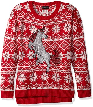 Blizzard Bay Women's Glitter Unicorn Ugly Christmas Sweater