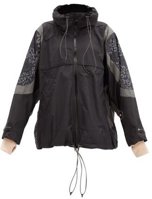 adidas by Stella McCartney Leopard-print Hooded Shell Windbreaker Jacket - Black Print