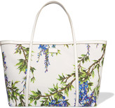 Dolce & Gabbana Printed leather-trimmed woven tote