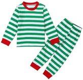 niceEshop(TM) 2pcs Boys Girls Striped Two Piece Christmas Pajama Set Sleepwear