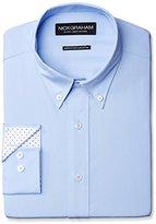 Nick Graham Men's Solid Cotton Poplin Dress Shirt- Modern Fit- Button Down Collar