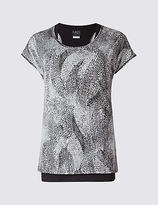 M&S Collection Printed Double Layer Top