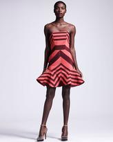 Flounce-Skirted Striped Dress