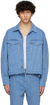 Thierry Mugler SSENSE Exclusive Blue Denim Oversized Jacket