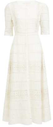 LoveShackFancy Flora Embroidered-cotton Midi Dress - Womens - Cream