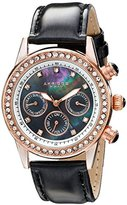 Akribos XXIV Women's AK556BKR Dazzling Rose-tone Swiss Multifunction Black Strap Watch