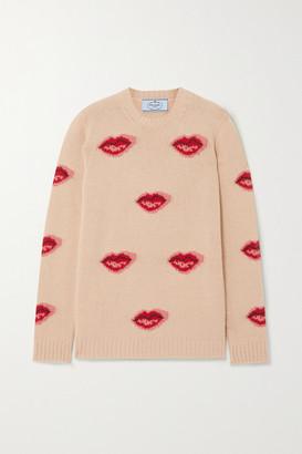 Prada Intarsia Wool And Cashmere-blend Sweater - Beige