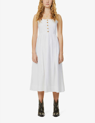 Free People Lilah pleated cotton midi dress