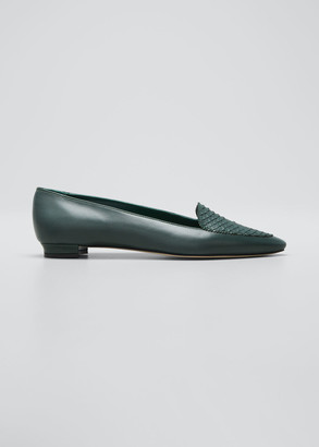 Manolo Blahnik Agos Leather & Snake Loafers, Dark Green