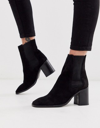 ASOS DESIGN Reverse suede square toe chelsea boots in black