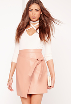 Missguided Wrap Front Faux Leather Mini Skirt Pink