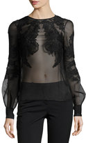 J. Mendel Sheer Floral-Embroidered Blouse, Black