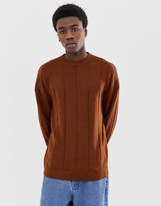 Asos dropped shoulder sweater in fine striped merino wool-Brown