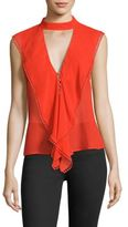 Nicholas Ruffled Silk Georgette Choker Top