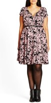 City Chic Rose Beauty Belted Fit & Flare Dress (Plus Size)