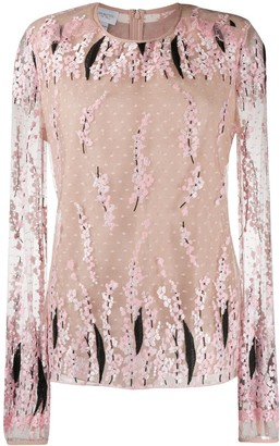 Giambattista Valli Floral-Embroidered Mesh Blouse