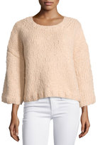 Michael Kors 3/4-Sleeve Oversized Sweater, Nude