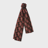 Paul Smith Men's Brown Paisley Doubled Sided Wool-Cashmere Scarf