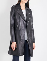 Theory Hilvan Wilmore biker-collar leather jacket