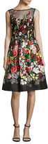 Teri Jon Embroidered Floral-Print Dress
