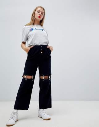 Asos Design DESIGN cord trousers with detachable metal suspenders-Blue