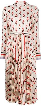Valentino Geometric-Print Long-Sleeve Shirtdress