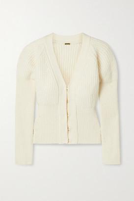 Cult Gaia Freida Ribbed-knit Cardigan - Ivory